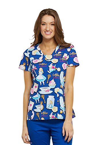 - Cherokee Tooniforms Women's V-Neck Alice in Wonderland Print Scrub Top Xx-Large Print