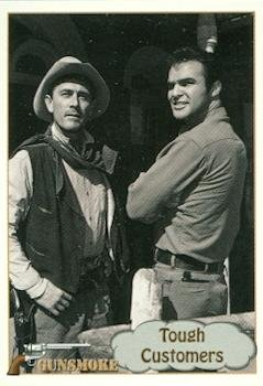 Burt Reynolds and Ken Curtis trading card Gunsmoke TV show 1993 Pacific #70 Festus and Quint from Autograph Warehouse