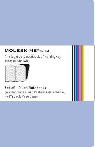 Moleskine Volant Notebook (Set of 2 ), Large, Ruled, Antwerp Blue, Prussian Blue, Soft Cover (5 x 8.25)