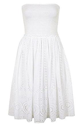 Topshop Smocked Bandeau Bodice Eyelet Embroidered Dress White (UK 6)