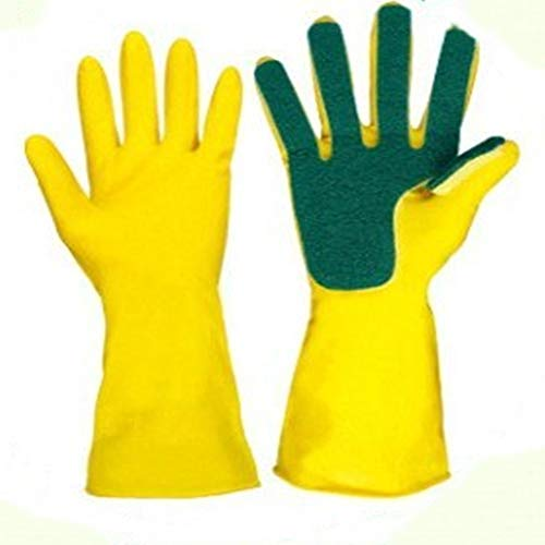 A Box of Two Pairs of Latex Five Fingers scouring Gloves Compound Sponge Cleaning dishwashing Gloves Right Hand scouring Gloves,1