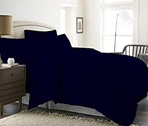 Breathable Duvet Cover Set 5 Piece With Zipper & Corner Ties 1000 Thread Count 100% Egyptian Cotton Hypoallergenic (1 Duvet Cover 4 Pillow Shams) ( Twin/TwinXL, Navy Blue ) Solid By BED ALTER
