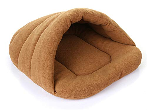 (Pet Cat Bed Small Dog Puppy Sofa Polar Fleece Material Pet Mat Cat Sleeping Bag Warm,Brown,50x48cm)