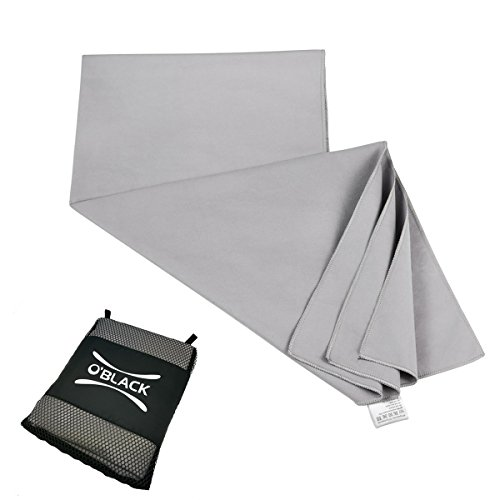 O'BLACK Soft Microfibre Towel Best Quick Dry Towels for Sports Travel Yoga Gym, Bathroom Kitchen Towel Dish Drying Mat, Lightweight and Super Absorbent with Storage Bag and Loop Holes for Hanging