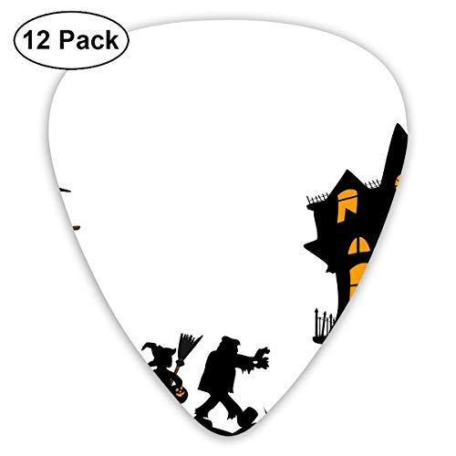 HOOAL Custom Guitar Picks, Halloween Walk with Haunted House Guitar Pick,Jewelry Gift For Guitar Lover,12 -