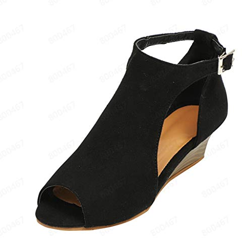 Womens Comfortable Platform Peep Toe Faux Leather Summer Roman Beach Mid Heel Wedge Sandals Black