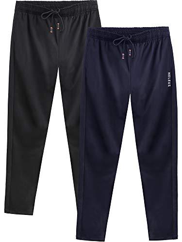 (Neleus Men's 2 Pack Athletic Workout Running Pants,7006,Black,Navy Blue,L,EU XL)