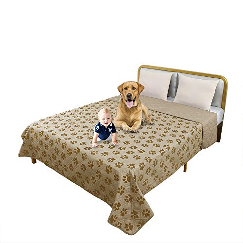 TTLUCKY Resuable Paw Printed Waterproof Pet Blanket Reversible Dog Bed Cover,Soft Furniture Protector Cover for Kids Pet Puppy