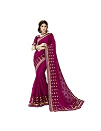 Triveni Georgette & Net Purple Party Wear Embroidered Designer Saree