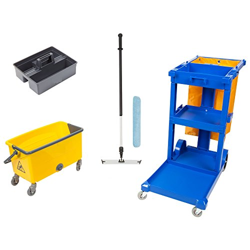 Janitor Microfiber Cart (6 Piece Commercial Janitor Cart Kit with 44 QT Mop Bucket Microfiber 18