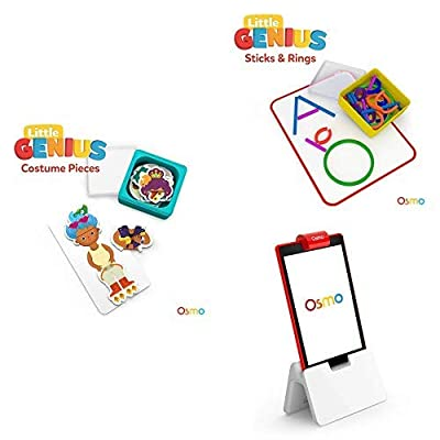 Osmo - Little Genius Starter Kit for Fire Tablet Bundle - 4 Hands-On Learning Games (Preschool Ages) - 4 Preschool Games Fire Tablet Base Included: Toys & Games