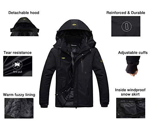 Wantdo Men's Mountain Waterproof Ski Jacket Windproof Rain Jacket Winter Warm Snow Coat 7