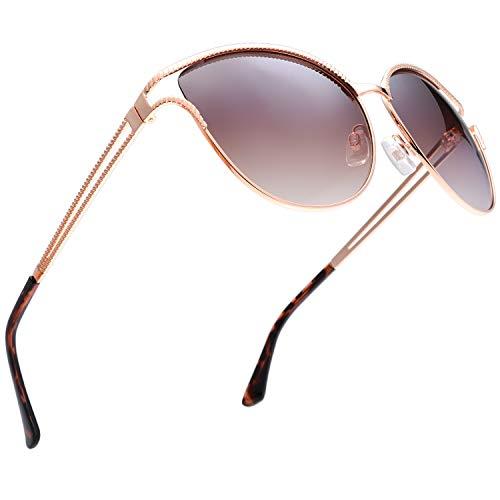 Classic Crystal Elegant Women Beauty Design Sunglasses Gift Box (L131-Gold, Brown Gradient)