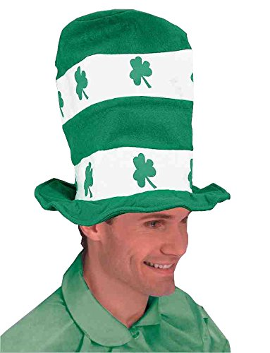 Forum Novelties St. Patrick's Day Costume Stovepipe Hat, White/Green Shamrocks, One Size -