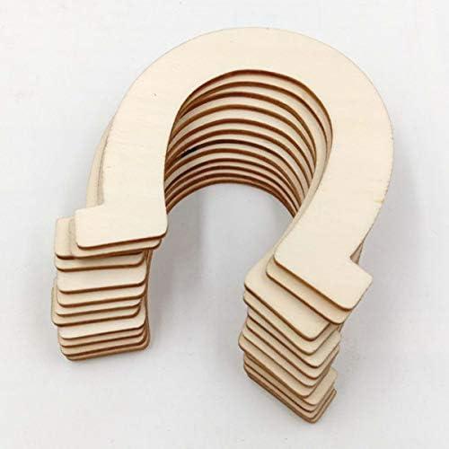 Healifty 24ピース未完成木製馬蹄カットアウトディスクスライス装飾用diyクラフトプロジェクト結婚式誕生日パーティー83x91mm