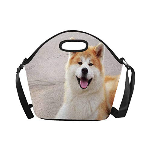 InterestPrint Neoprene Lunch Tote Bag Dog Breed Akita Inu Walking Open Air Reusable Lunchbox with Shoulder Strap