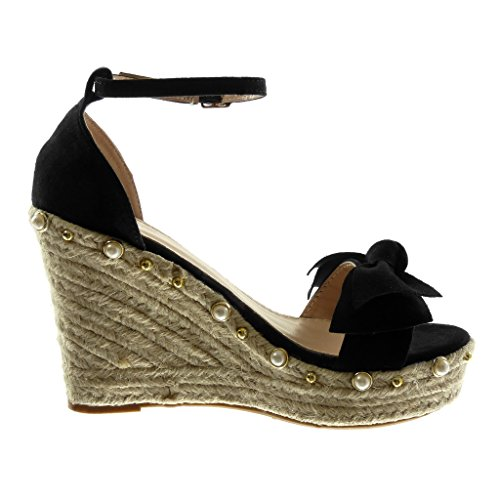 Angkorly Zapatillas Moda Sandalias Mules Plataforma Correa de Tobillo Mujer Nodo Perla Cuerda Plataforma 11 cm Negro
