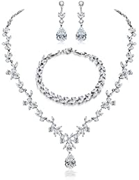 Jewelry Set for Women, Necklace Dangle Earrings Bracelet Set, White Gold Plated Jewelry Set with White AAA Cubic Zirconia, Allergy Free Wedding Party Jewelry for Bridal Bridesmaid