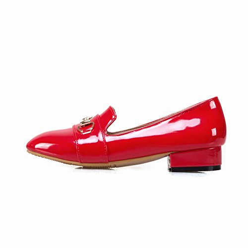 Carolbar Heels Loafers Office Shoes Red Square Toe Womens Lady Low rw6Yr