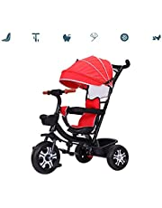 Trike Tricycle Trike Kids Ride-on Tricycle for Children with Sun Canopy, Back Storage and Removable Parent Handle,3 in 1 Trike Kids'Pedal Cars for 1-6 Year old Boys Girls Trolley Toddler Scooters,Tita