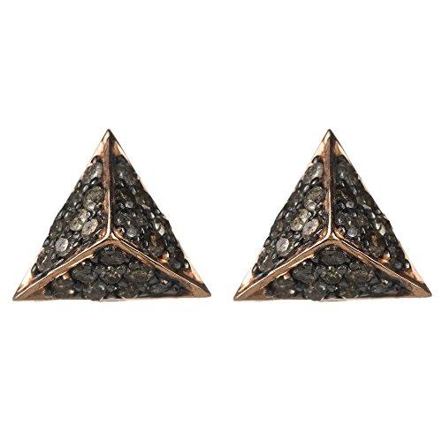 Diamond Pyramid Earring Rosegold Champagne Diamonds