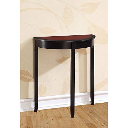 Black Cherry Semi Circle Demilune Table for Small Hallway Entryway Space Wooden Half Moon Sturdy Console Tables