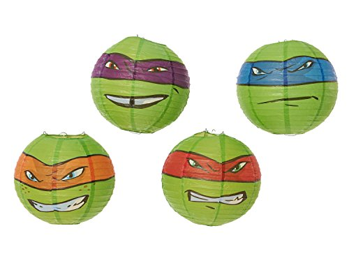 American Greetings Teenage Mutant Ninja Turtles Paper Lantern Decoration, Party Supplies (4 (Ninja Turtle Birthday Party Supplies)