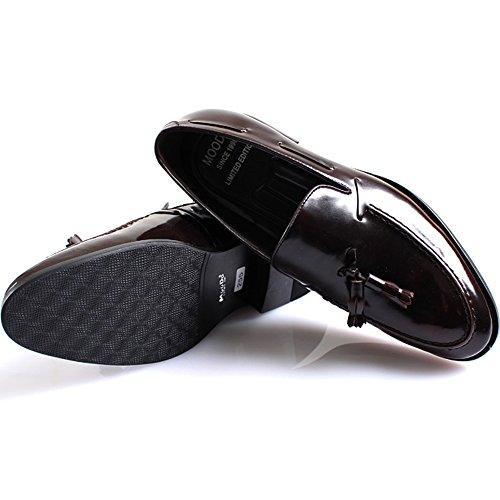 Ny Mooda Moderna Formella Tofs Loafers Glider På Läder Män Finskor Vin