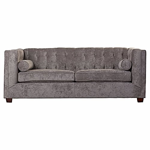 Sofa In Contemporary Design And Tufted Sofa Back With Wooden Frame And Removable Seat Cushions With Tufting Buttons plus FREE GIFT (Charcoal)