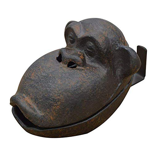 Ozzptuu Cast Iron Retro Creative Orangutan Cigar Ashtray Funny Cigarette Ash Tray Sculpture for Home Decor Black