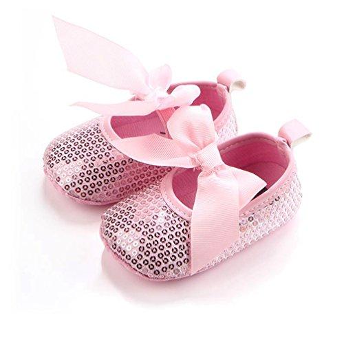 Dooxi Bebé Niña Bowknot Lentejuelas Princesa Zapatos Primeros Caminantes Antideslizante Zapatillas Pink