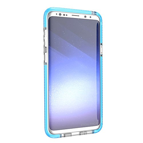Grandcaser Funda para Samsung Galaxy S9,[Tough Armor] Slim Fit Flexible Goma Silicona TPU Gel Estuche Protectora de Claridad Diseño Lunares Textura Cover Duro Antideslizante Vistoso Parachoques - Tran Transparente Azul