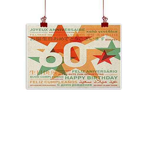 warmfamily Simple Life Minimalist 60th Birthday,World Cities Birthday Party Theme with Abstract Stars Print, Green Vermilion and White 20