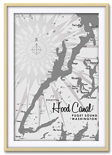 Hood Canal WA Gray Professionally Framed & Matted Giclee Tra