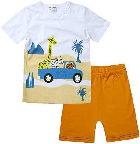 BIBNice Kids 2 Piece Cotton Short Sleeve Shirt and Shorts Size 18Months-7T