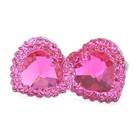 Rose+Purple SuxiDi Glitter Heart-Shaped Simulation Diamond Clip On Earrings for Kids Girls Fashion Jewellery
