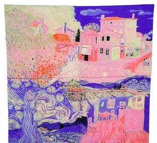 S Cloth Pink 100% Satin Charmeuse Silk Luxury Scarf Van Gogh Painting Collection 90 Square Scarf Head Wraps Hijab 10Pcs