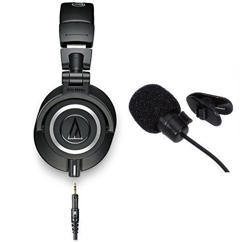 Audio-Technica ATH-M50x Professional Studio Monitor Headphones With in line mic by Audio-Technica
