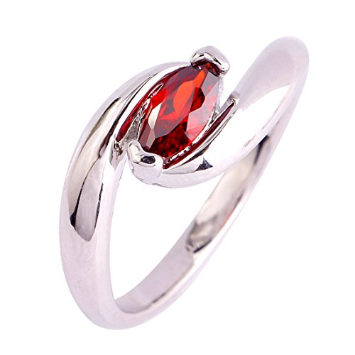 Veunora 925 Sterling Silver Plated Simple Marquise Cut Garnet Ring for Gift (Garnet Sterling Box Gift Genuine)