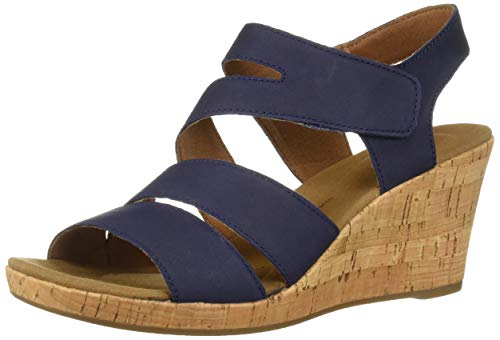 Rockport Women's Briah Asym Wedge Sandal Navy Nubuck 8.5 M -
