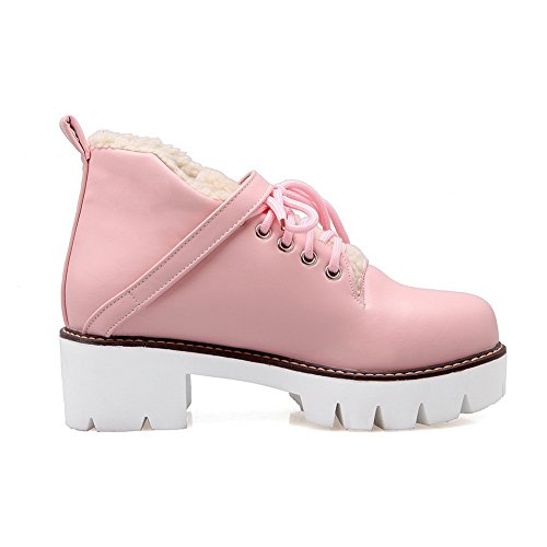 BalaMasa Womens Platform Buckle Casual Urethane Boots ABL09930 Pink PiP2cY