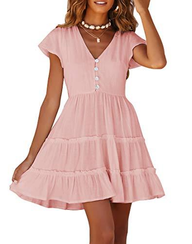 (YIBOCK Women's Summer Short Sleeve V Neck Button Ruffle Swing Mini Dress (Pink, XL))