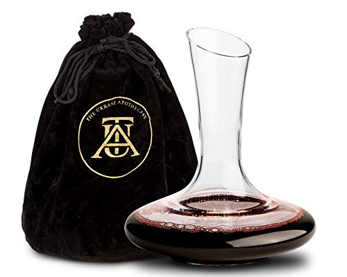 Beautiful, Crystal Wine Decanter Set, Hand Blown, 60 fluid oz - Wine Aerating Decanters with Elegant  Black and Gold Velvet Sleeve  - Drip-Free, Lead-Free, BPA-Free - Table Aerator Carafe ()