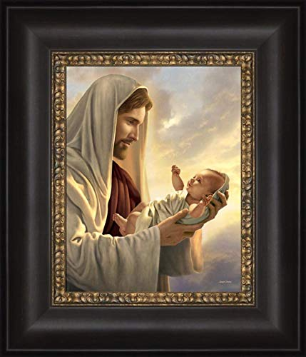 Simon Dewey in His Constant Care 12x14- Framed Strata Design- Jesus Holding - Care His Constant