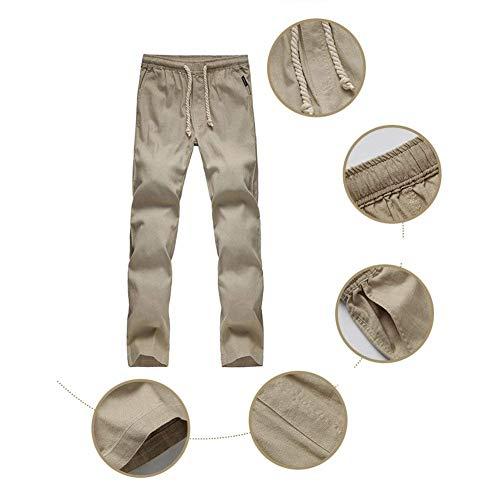 Khaki Largos Pantalones Con Playa Laterales Hombres Haidean Casual Modernas Lino Hombre Bolsillos Sólido Color Para Cómodos De Sueltos FqwxvRT
