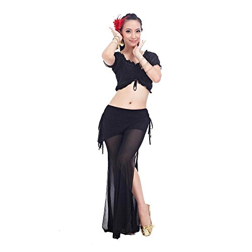 Danzcue Fashion 2-Piece Belly Dance Costume, Black (Belly Dance Costumes Large Ladies)