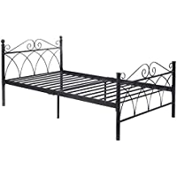 Giantex Black Steel Twin Size Bed Frame Platform Foundation Furniture (78x42x34)