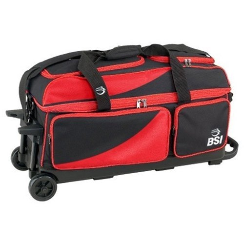 BSI Prestige Triple Ball Roller Bowling Bag- Black/Red by Bowlers Superior Inventory