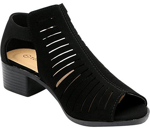 Top Moda - Women's Laser Cut Open Toe Short Heel Booties,8 B(M) US,Black by Top Moda (Image #3)