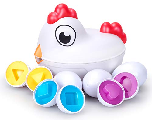 Mama Hen Shape Sorter - Matching Eggs Toy Game Set   Color Sorting Skill...
